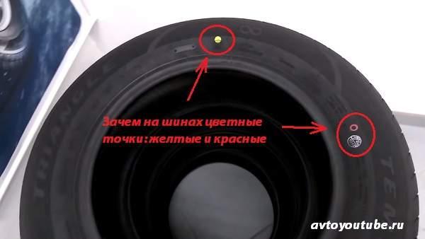 Что означают на шинах желтые и красные точки