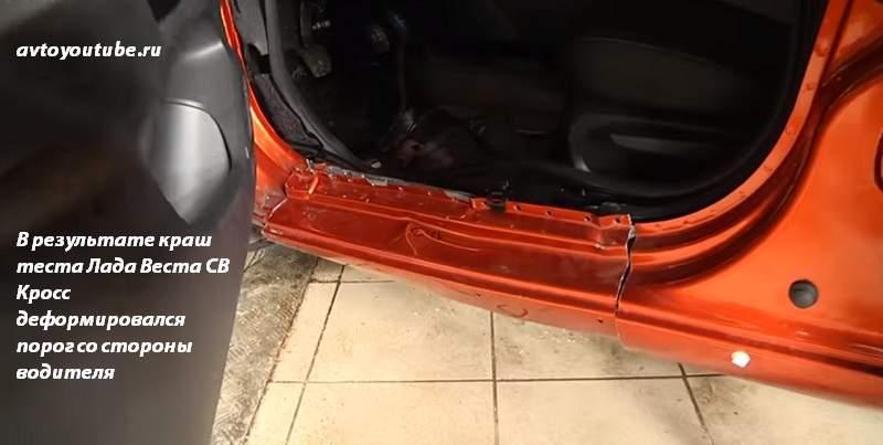В результате краш теста Lada Vesta SW Cross деформировался порог