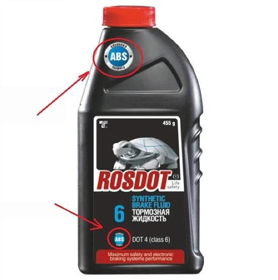 Пример упаковки тормозной жидкости dot 4 для тормозных систем с ABS
