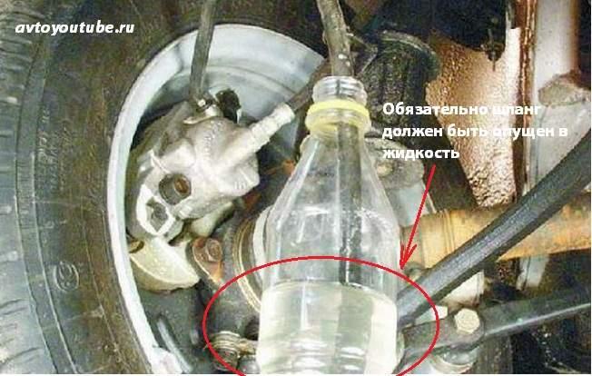 Для правильной прокачки тормозов шланг должен быть опущен в емкость с жидкостью