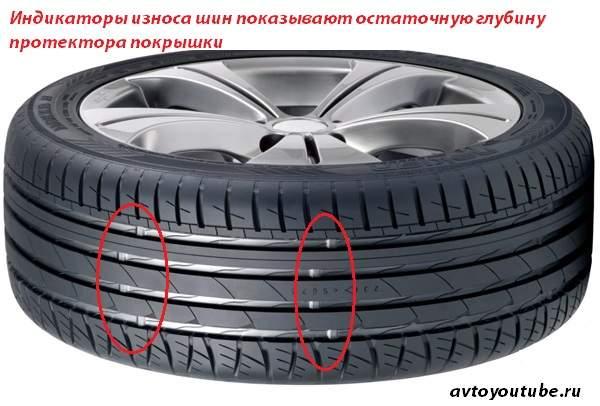 Индикаторы износа шин показывают остаточную глубину протектора