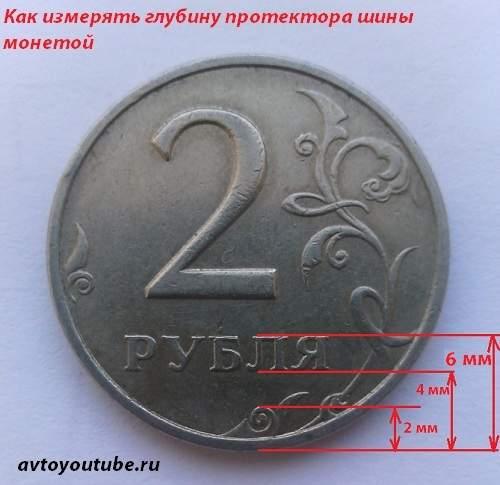 Как измерить глубину русинка шины монетой номиналом в два рубля