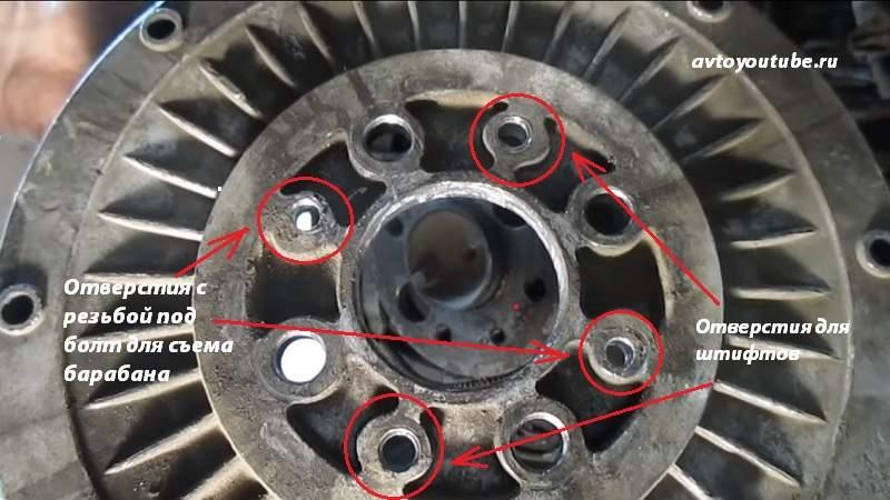 Снимаем тормозной барабан ВАЗ 2101-07 при помощи болтов в качестве съемников