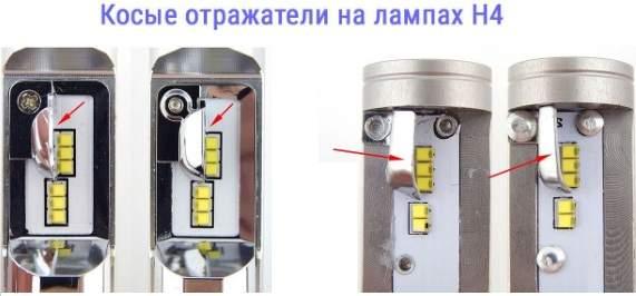 косые отражатели некачественных светодиодных ламп