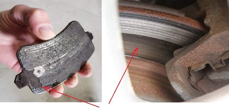 Неравномерный износ дисков и колодок приводит к скрипу тормозов