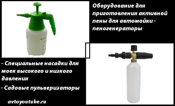 Самодельные и магазинный пеногенераторы для использования активной пены для мойки