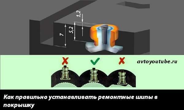 Как правильно устанавливать ремонтные шипы в покрышку