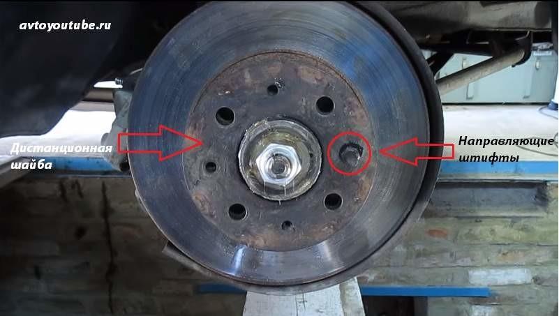Прикручиваем штифтами тормозной диск к ступице