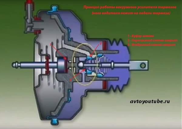 Принцип работы вакуумного усилителя тормозов - нога водителя лежит на педали тормоза
