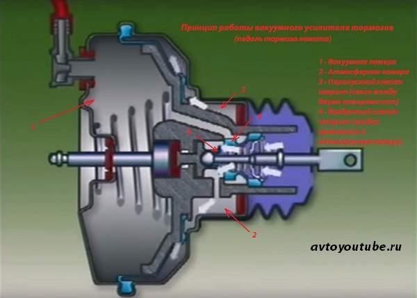 Принцип работы вакуумного усилителя тормозов - педаль тормоза нажата