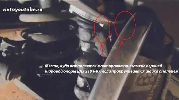 Места, куда вставляется монтировка при замене верхней шаровой опоры ВАЗ 2101-07, если прокручивается шайка с пальцем