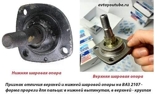 Еще один признак отличить верхнюю шаровую от нижней на ВАЗ 2107 – форма прорези для пальца
