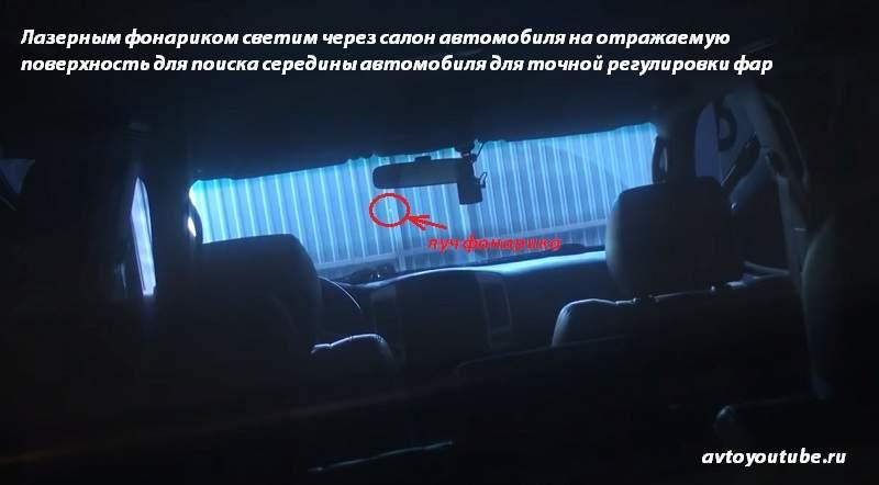 Поиск центра автомобиля лазерным фонариком для точной регулировки фар авто