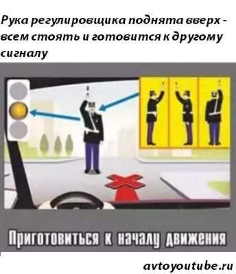 Сигнал регулировщика рука поднята вверх – всем стоять, и приготовится к следующему жесту