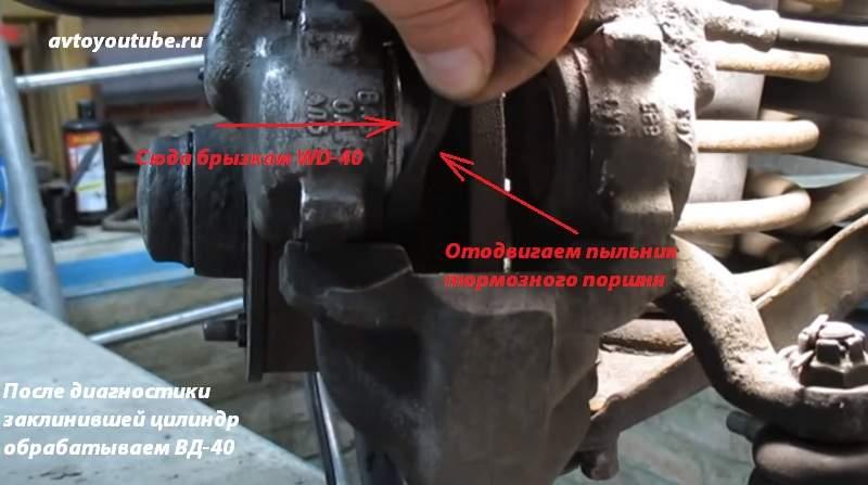 После диагностики заклинившей тормозной цилиндр обрабатываем ВД-40