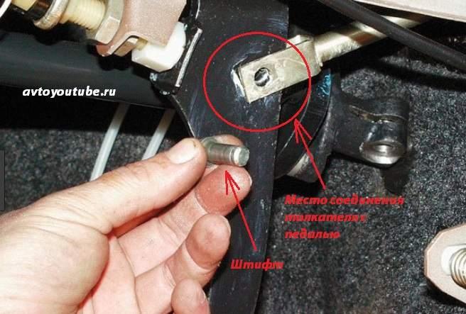 Штифт соединяющий вакуумный усилитель с педалью тормоза