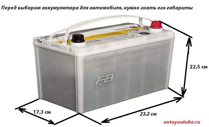 Перед выбором аккумулятора для автомобиля, нужно знать его габариты