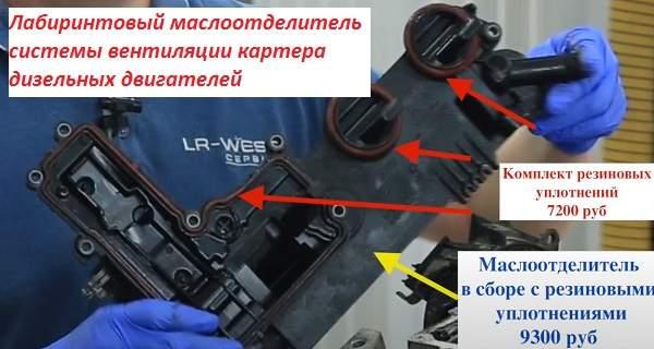 Лабиринтовый маслоотделитель системы вентиляции картера дизельных двигателей