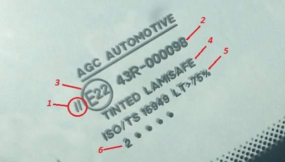 маркировка автостекла AGC