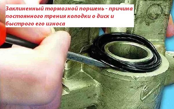 Заклиненный тормозной поршень – причина постоянного трения колодки о диск и быстрого его износа